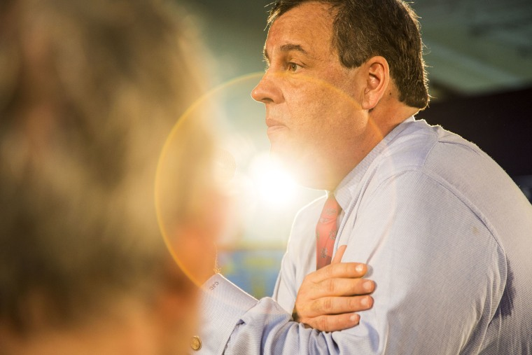 New Jersey Gov. Chris Christie holds his 119th Town Hall meeting in Franklin, NJ on April 15, 2014.