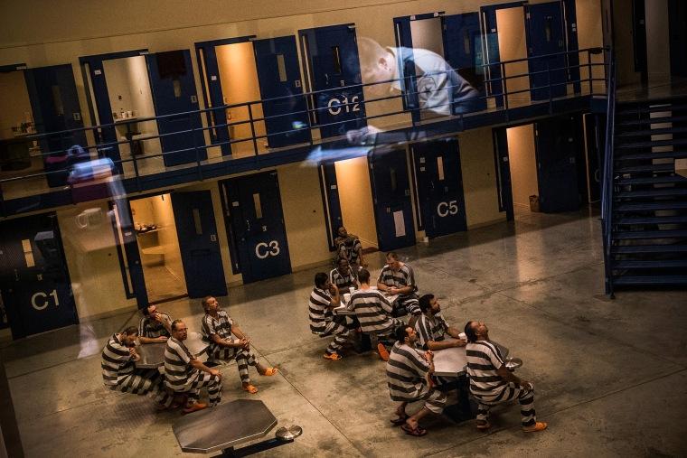 Inmates in the county jail on July 26, 2013 in Williston, North Dakota.