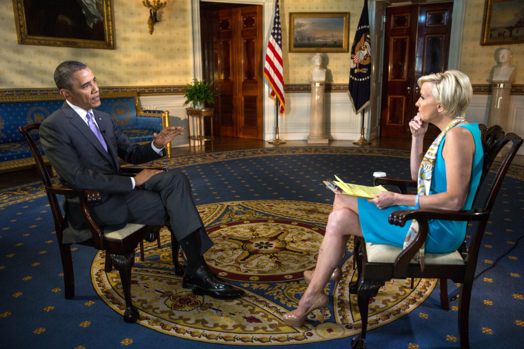 """President Barack Obama is interviewed by Mika Brzezinski, Co-Anchor of MSNBC's """"Morning Joe"""" in the Blue Room of the White House, June 20, 2014."""