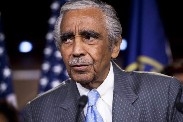 Rep. Charlie Rangel, D-N.Y., speaks during a news conference in the Capitol Visitor Center.