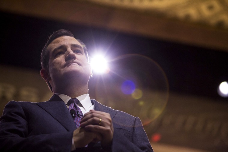 Sen. Ted Cruz (R-Tex.) during his speech at the annual Conservative Political Action Conference at the Gaylord National Resort and Convention Center in National Harbor, Md, March 6, 2014.