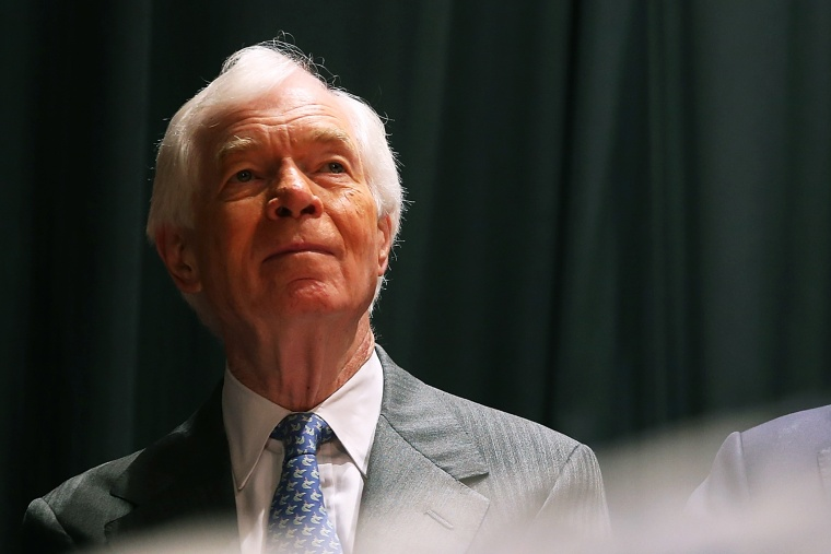 U.S. Sen Thad Cochran looks on during a campaign rally on June 23, 2014 in Jackson, Mississippi.