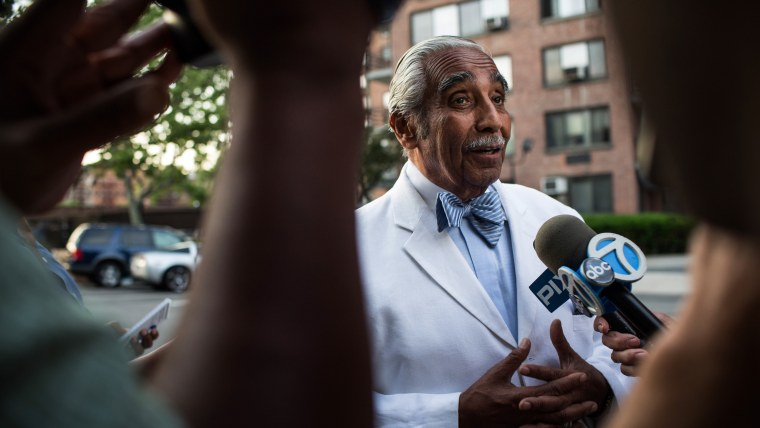 U.S. Rep. Charlie Rangel (D-NY) speaks to the media while campaigning in New York's 13th District on June 23, 2014 in the Harlem neighborhood of New York City.
