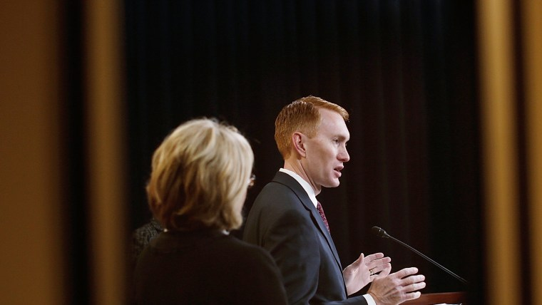 U.S. Rep. James Lankford (R-OK) finishes speaking during a news conference at the U.S. Capitol, March 25, 2014.