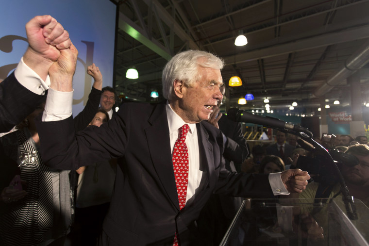 U.S. Senator Thad Cochran addresses supporters during an election night celebration in Jackson, Mississippi