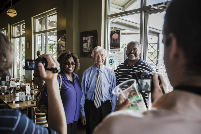 Sen. Thad Cochran (R-Miss.) makes a campaign stop at a cafe in Jackson, Miss.