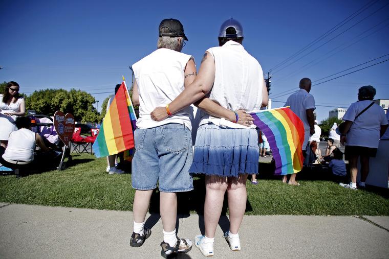 Skinner and her wife Belka wait for the beginning of the Utah Pride Parade in Salt Lake City