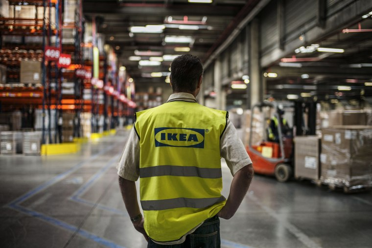 An employee is at work at a warehouse of world's largest furniture retailer Ikea, on March 18, 2014.