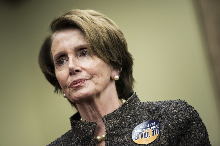 House Minority Leader Nancy Pelosi (D-Calif.) arrives for an event on Capitol Hill on April 3, 2014 in Washington, D.C.