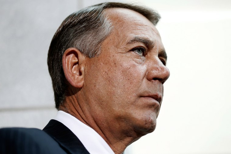 Speaker of the House John Boehner (R-OH) speaks following a meeting of the House Republican conference June 18, 2014 at the U.S. Capitol in Washington, D.C.