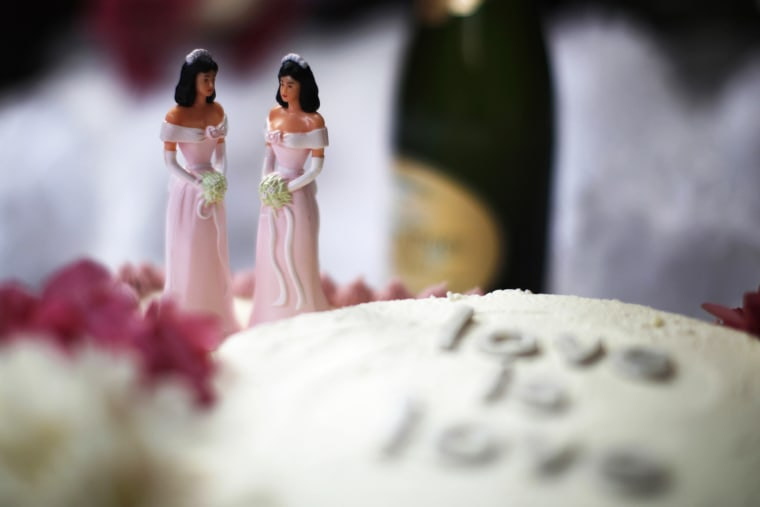 A wedding cake is seen at a reception for same-sex couples in West Hollywood, Calif., July 1, 2013.