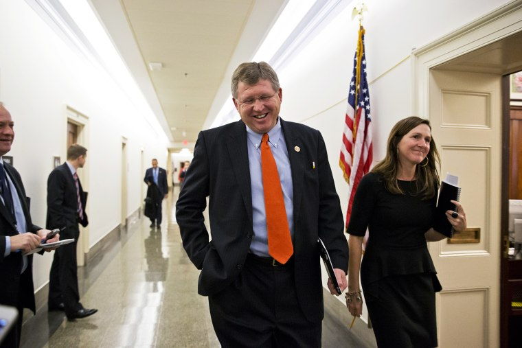 Rep. Frank Lucas, R-Okla., attends a closed-door meeting on Capitol Hill in Washington, Dec. 4, 2013.