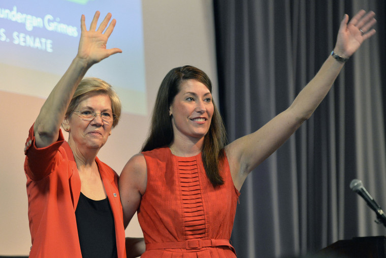 Democratic U.S. Sen. Elizabeth Warren, left, of Massachusetts and Kentucky democratic Senatorial candidate Alison Lundergan Grimes wave to supporters at at rally on Sunday, June 29, 2014 at the University of Louisville in Louisville, Ky.