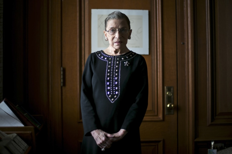Justice Ruth Bader Ginsburg in her chambers in Washington.