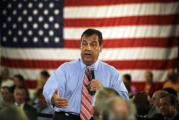 ew Jersey Gov. Chris Christie addresses a gathering at a town hall meeting Wednesday, June 25, 2014, in Haddon Heights, N.J.