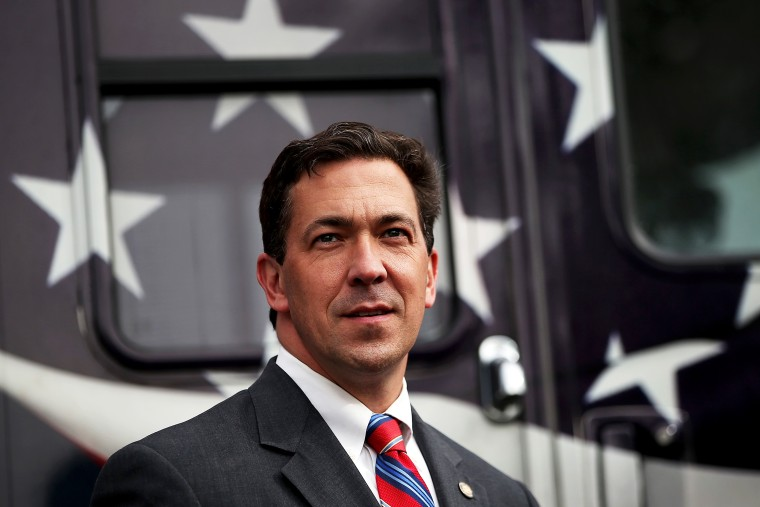 Chris McDaniel looks on during a campaign rally on June 23, 2014 in Flowood, Mississippi.