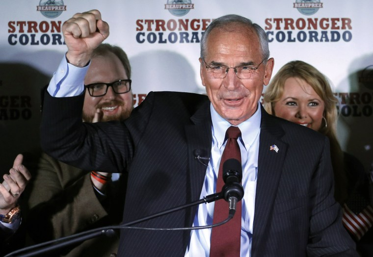 Republican gubernatorial candidate winner Bob Beauprez addresses supporters at an election party in Denver on Tuesday, June 24, 2014.