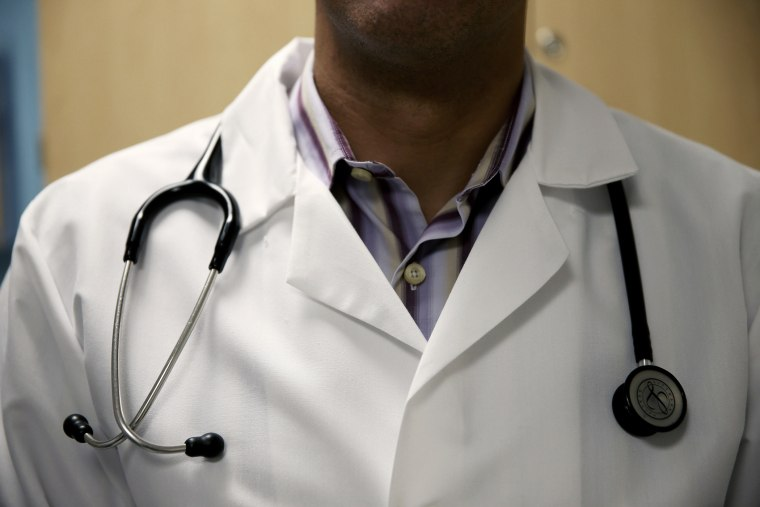 A doctor wears a stethoscope in Miami, Florida.