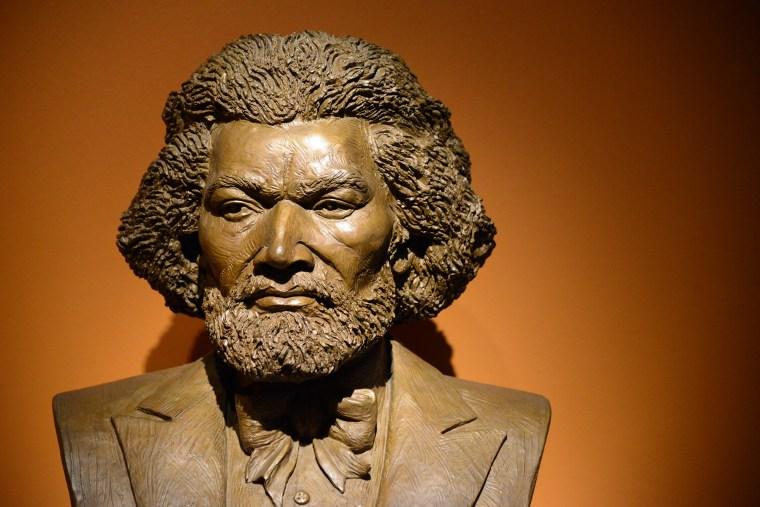 A bust of Frederick Douglass by artist Tina Allen.