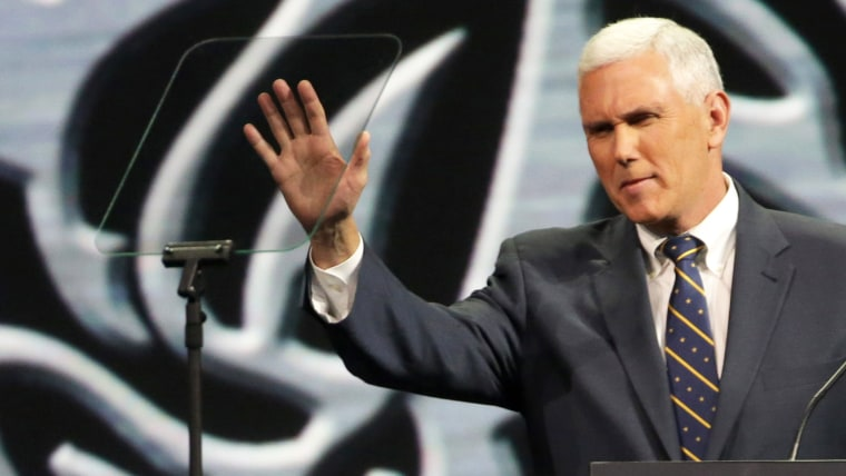 Indiana Governor Mike Pence speaks during the National Rifle Association Annual Meeting Leadership Forum on April 25, 2014 in Indianapolis, Indiana.