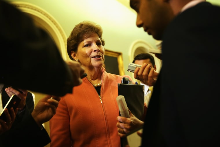 Jeanne Shaheen speaks to members of the media after a policy luncheon, May 6, 2014.