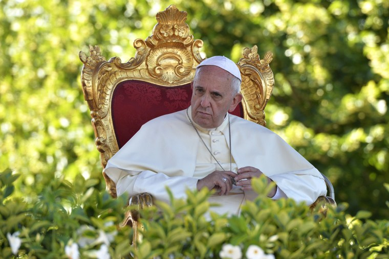 Pope Francis looks on during a meeting with youth of the diocese on July 5, 2014 in Castelpetroso, southern Italy, as part of his one day visit in the Molise region.