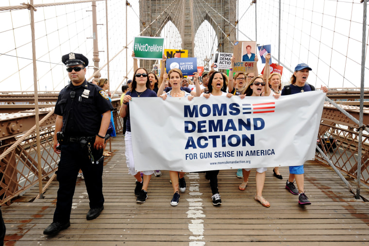 Moms Demand Action For Gun Sense marched across the Brooklyn Bridge for the second annual Brooklyn Bridge March and Rally to end gun violence, June 14, 2014.