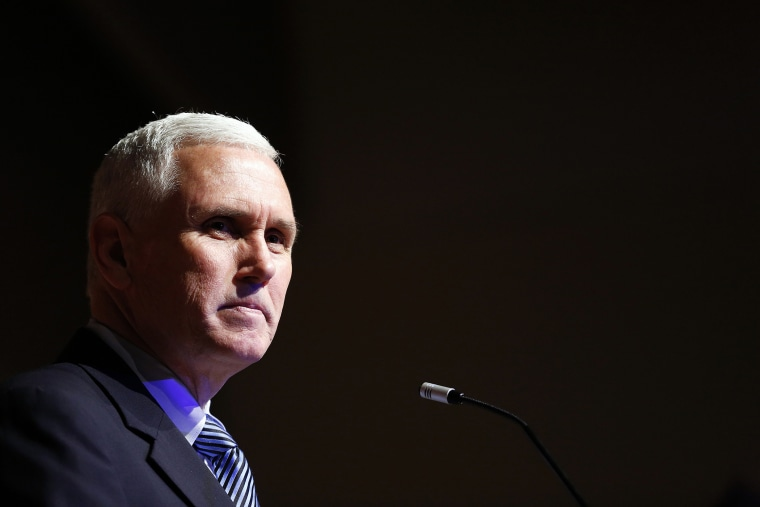 Indiana Gov. Mike Pence speaks during an event in Indianapolis, May 15, 2014.