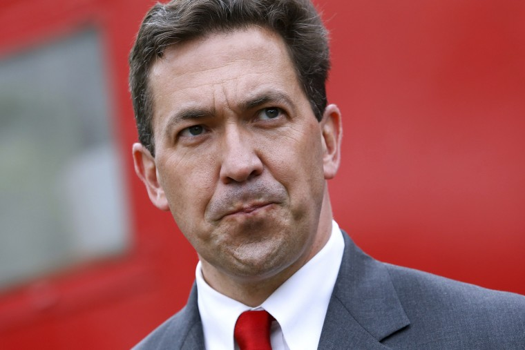 Chris McDaniel speaks with supporters during a campaign rally in Madison, Mississippi on June 19, 2014.