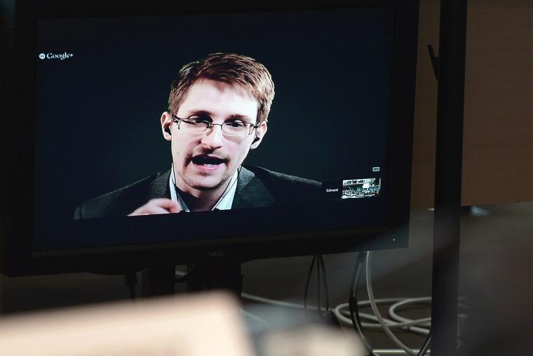 Edward Snowden speaks to European officials via videoconference, June 24, 2014.