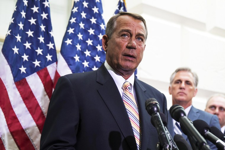John Boehner speaks during a news conference on Capitol Hill in Washington, Wednesday, July 9, 2014.
