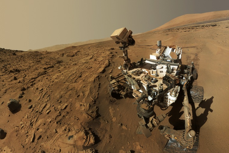 NASA's Curiosity Mars rover is seen on Mars, June 23, 2014.