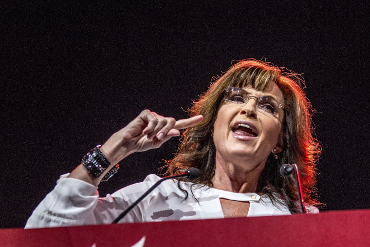 Sarah Palin speaks at The National Rifle Association annual convention in Indianapolis, Indiana, April 2014.