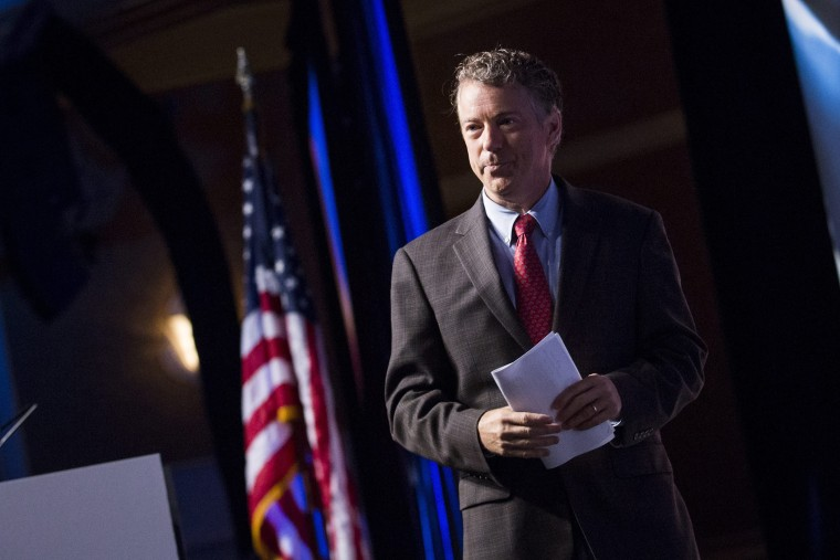 Republican Senator Rand Paul leaves the stage after speaking during the Faith and Freedom Coalition's 'Road to Majority' conference in Washington, June 20, 2014.