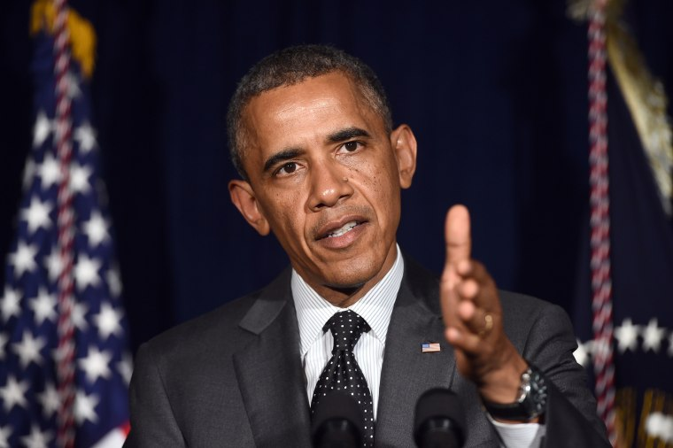 US President Barack Obama delivers a statement on the urgent humanitarian situation following his meeting with local elected officials and faith leaders on July 8, 2014 in Dallas, Texas.
