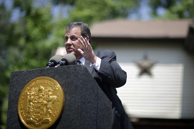 New Jersey Gov. Chris Christie speaks in Keansburg, N.J., July 7, 2014.