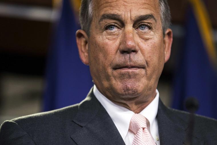 Speaker of the House John Boehner speaks to the media on Capitol Hill in Washington, July 10, 2014.