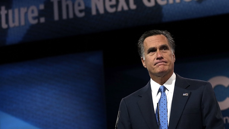 Former Republican presidential candidate and former Massachusetts Governor Mitt Romney delivers remarks during the second day of the 40th annual Conservative Political Action Conference (CPAC) March 15, 2013 in National Harbor, Maryland.