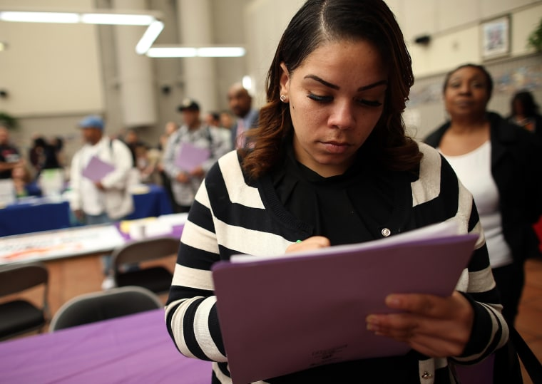 Job Seekers Look For Open Positions At Career Fair In San Francisco