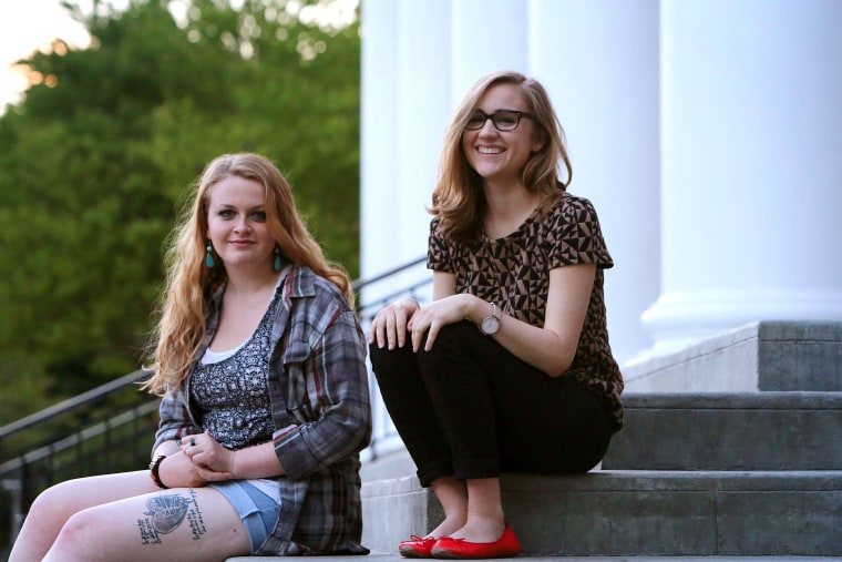 Jordan-Ashley Barney, at left, and Krista Pedersen pose for a portrait on Wheaton College's campus in Wheaton, Illinois near Chicago on July 10, 2014.