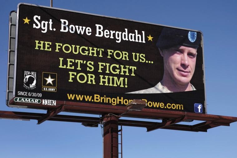 A billboard calling for the release of U.S. Army Sergeant Bowe Bergdahl near Spokane, Washington, February 25, 2014.