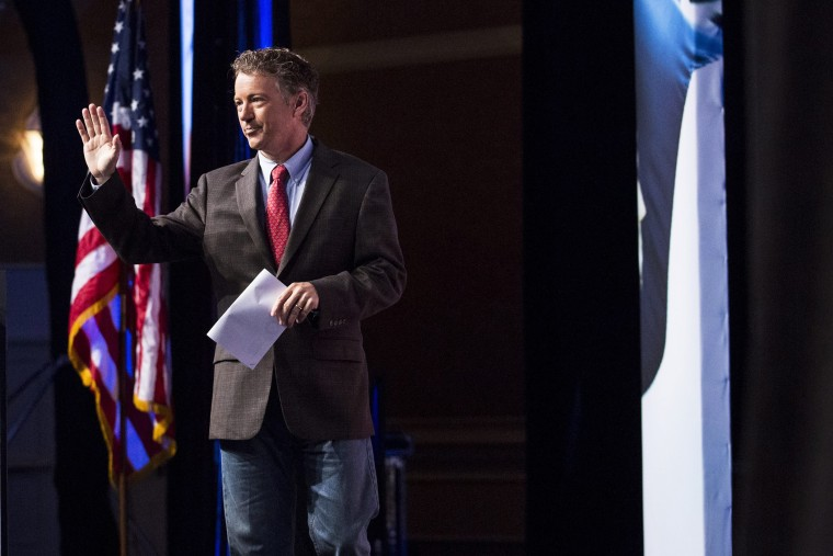 Republican Senator Rand Paul leaves the stage after speaking during the Faith and Freedom Coalition's 'Road to Majority' conference in Washington DC, June 20, 2014.