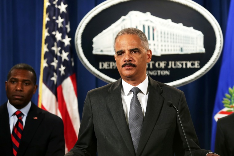 U.S. Attorney General Eric Holder speaks during a news conference, July 14, 2014 in Washington, DC.