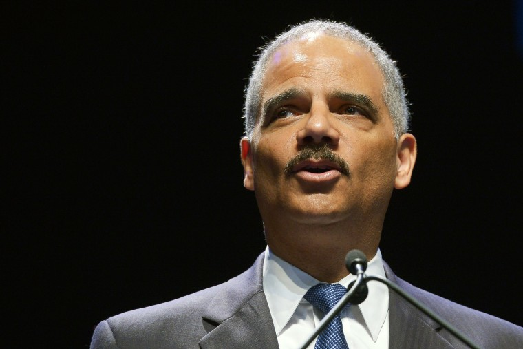 Eric Holder speaks during an event celebrating the 50th Anniversary of the Civil Rights Act of 1964 on July 15, 2014 at Howard University in Washington, DC.