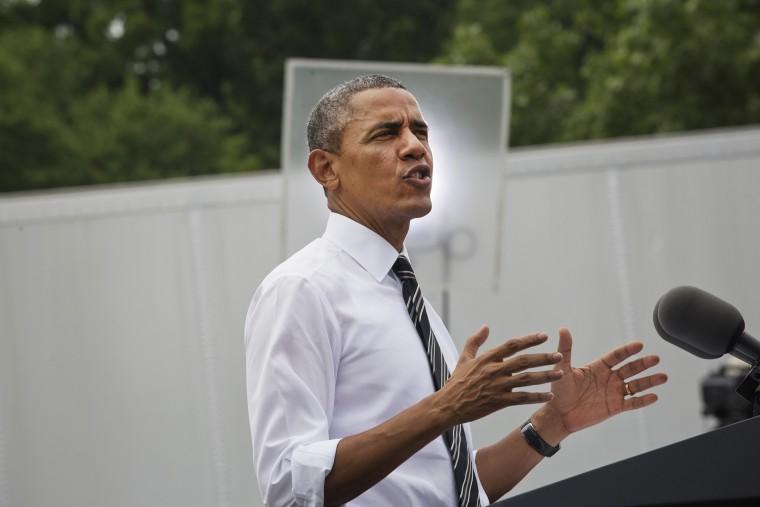 President Barack Obama speaks at the Turner-Fairbank Highway Research Center in McLean, Va., July 15, 2014.