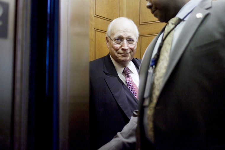 Former Vice President Dick Cheney boards an elevator at the U.S. Capitol.