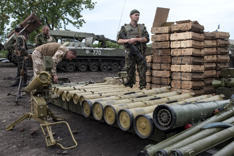 Ukrainian government soldiers guard weapons captured from rebels in Devhenke village, eastern Ukraine, July 8, 2014.