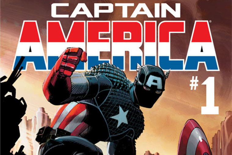 """The cover of a \""""Captain America\"""" comic."""