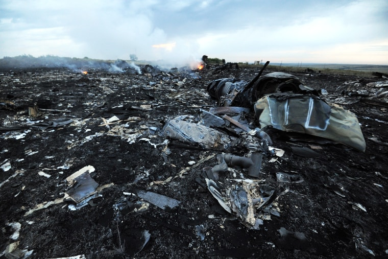 Flames are shown amongst the wreckages of the Malaysia Airlines flight carrying 298 people from Amsterdam to Kuala Lumpur after it crashed, near the town of Shaktarsk, in rebel-held east Ukraine, July 17, 2014.