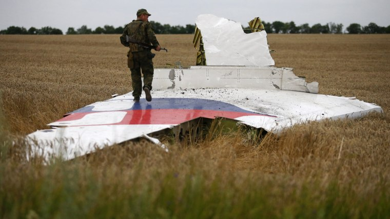 An armed pro-Russian separatist stands on part of the wreckage of the Malaysia Airlines Boeing 777 plane after it crashed near the settlement of Grabovo in the Donetsk region, July 17, 2014.